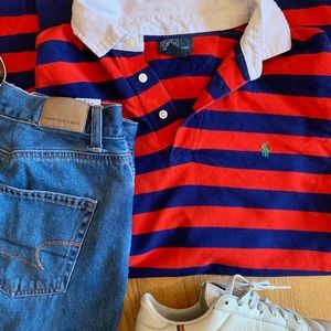 Ralph Lauren Vintage Red and Blue Rugby Polo